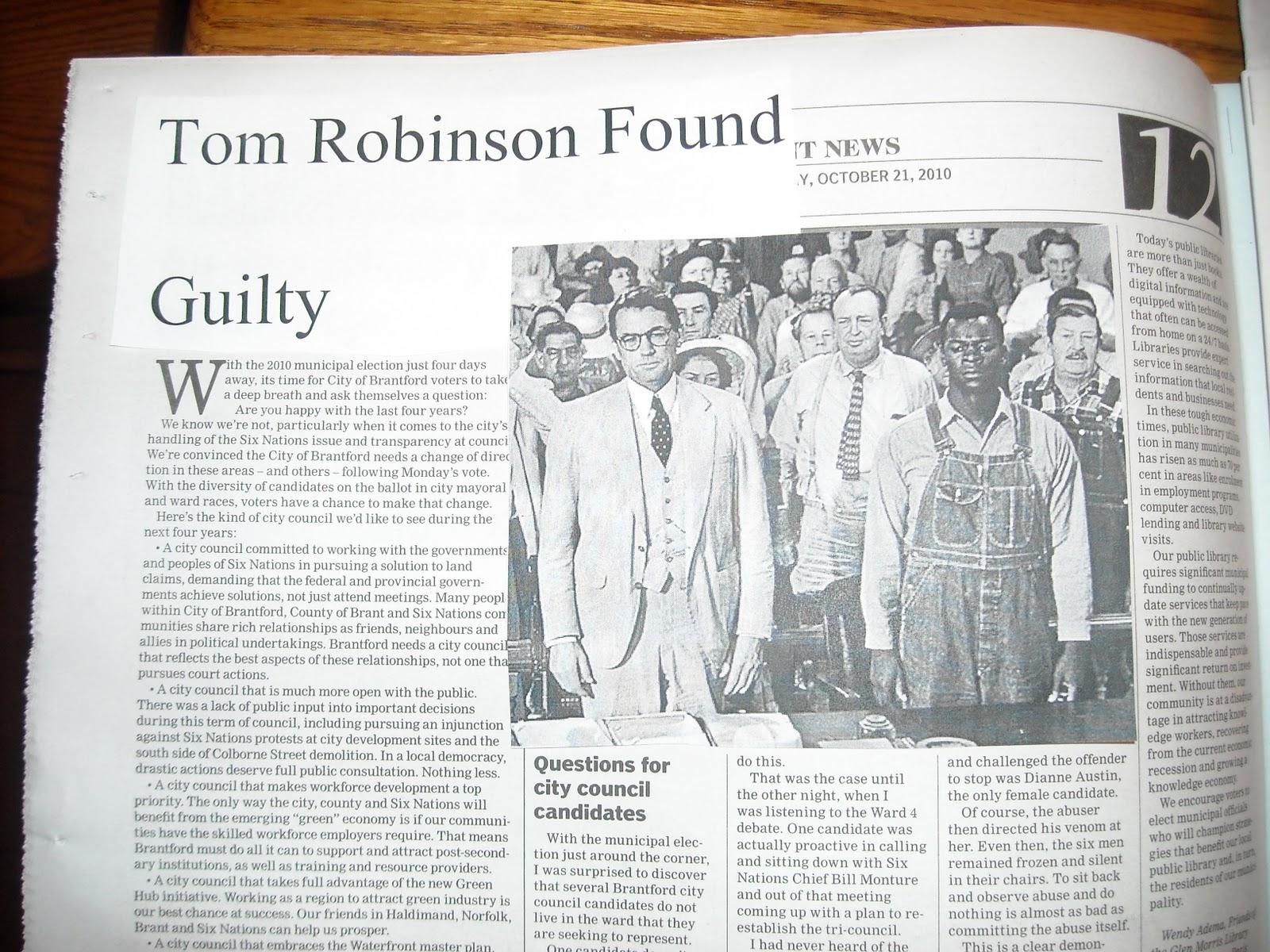 to kill a mockingbird tom robinson trial article Newspaper article on 'to kill a mockingbird' essays: alabama- the tom robinson trial concluded tom robinson in to kill a mockingbird is accused of raping.