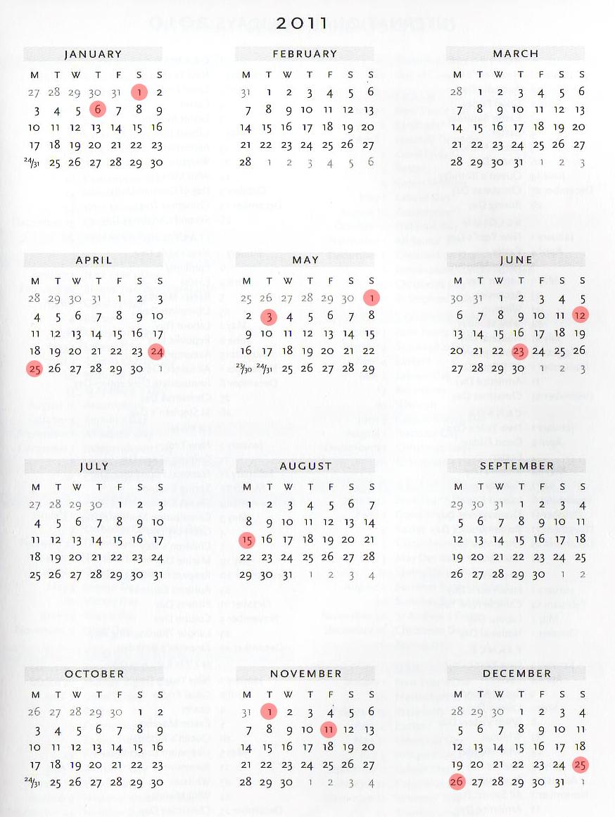kalendarz 2011 święta