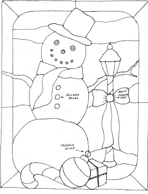 snowman stained glass pattern