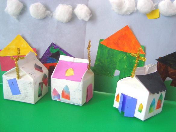 Image result for recycled paper toy houses
