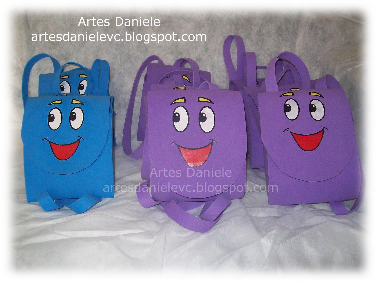 Personagens da Dora Aventureira e as mochilas que serao lembrancinhas ...