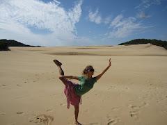 Standing Split on Sand Dune