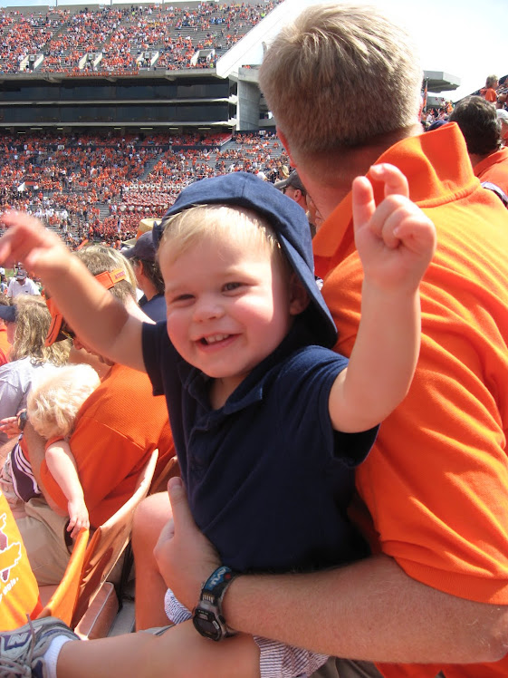 Levi cheering on the Auburn Tigers!