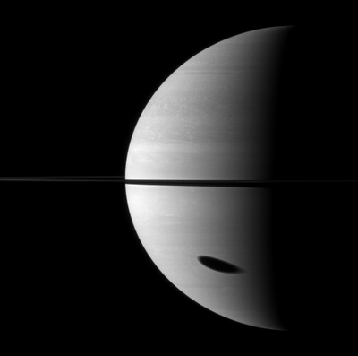 Titan's shadow on Saturn