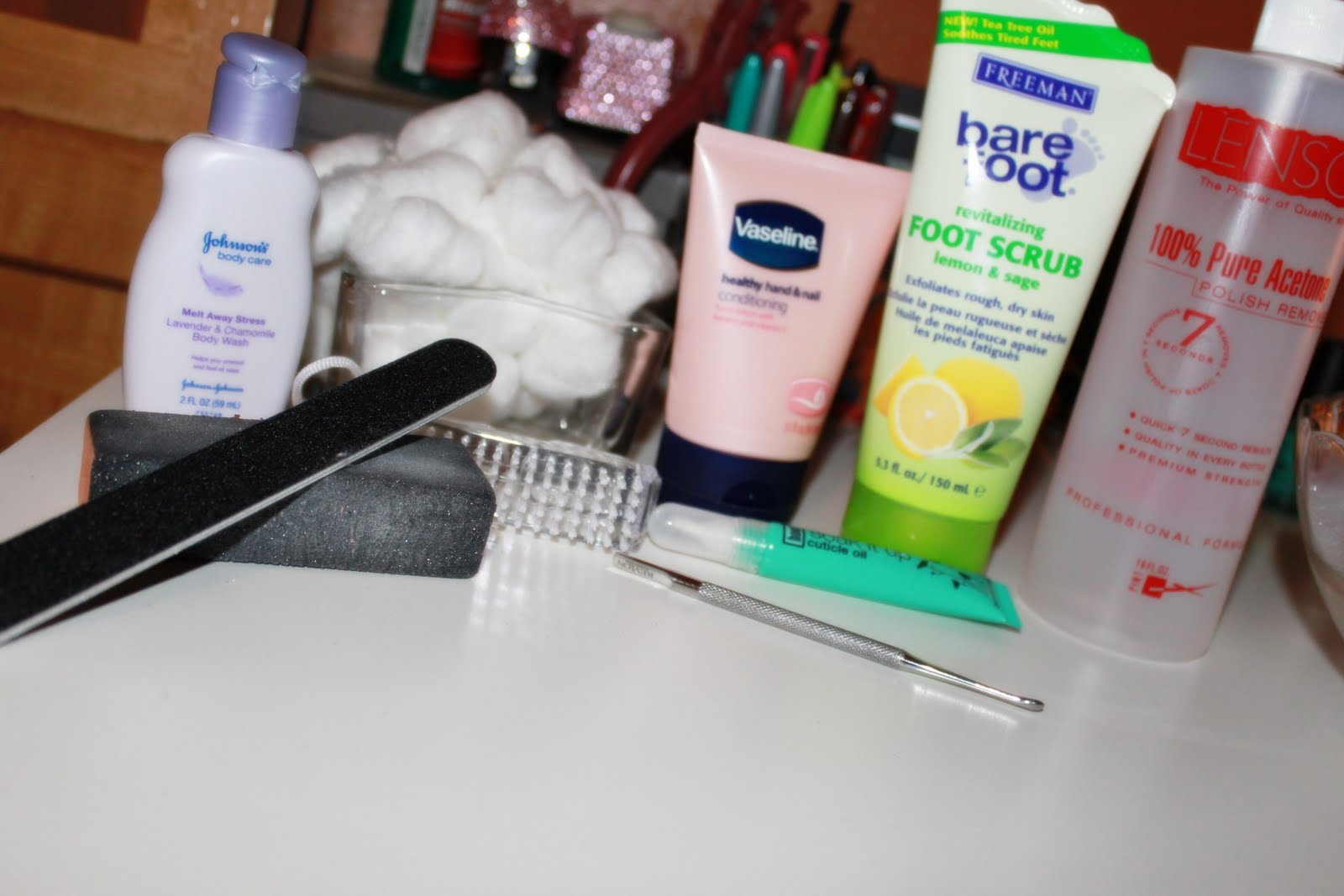 Nail file and buffer hand soap or any liquid soap hand and nail