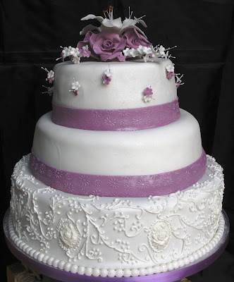 Three Tier Custom Round White Fondant Elegant Unique Wedding Cake Traditional Design Lavender Ribbon Borders Wrap Around Each