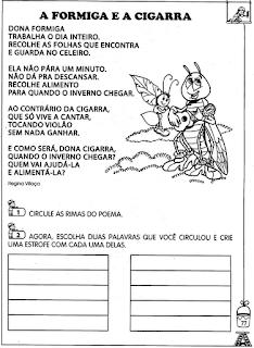 70 OFICINA DE POEMAS A FORMIGA E A CIGARRA para crianças