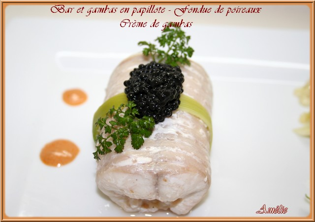 Filet de bar farcis aux gambas