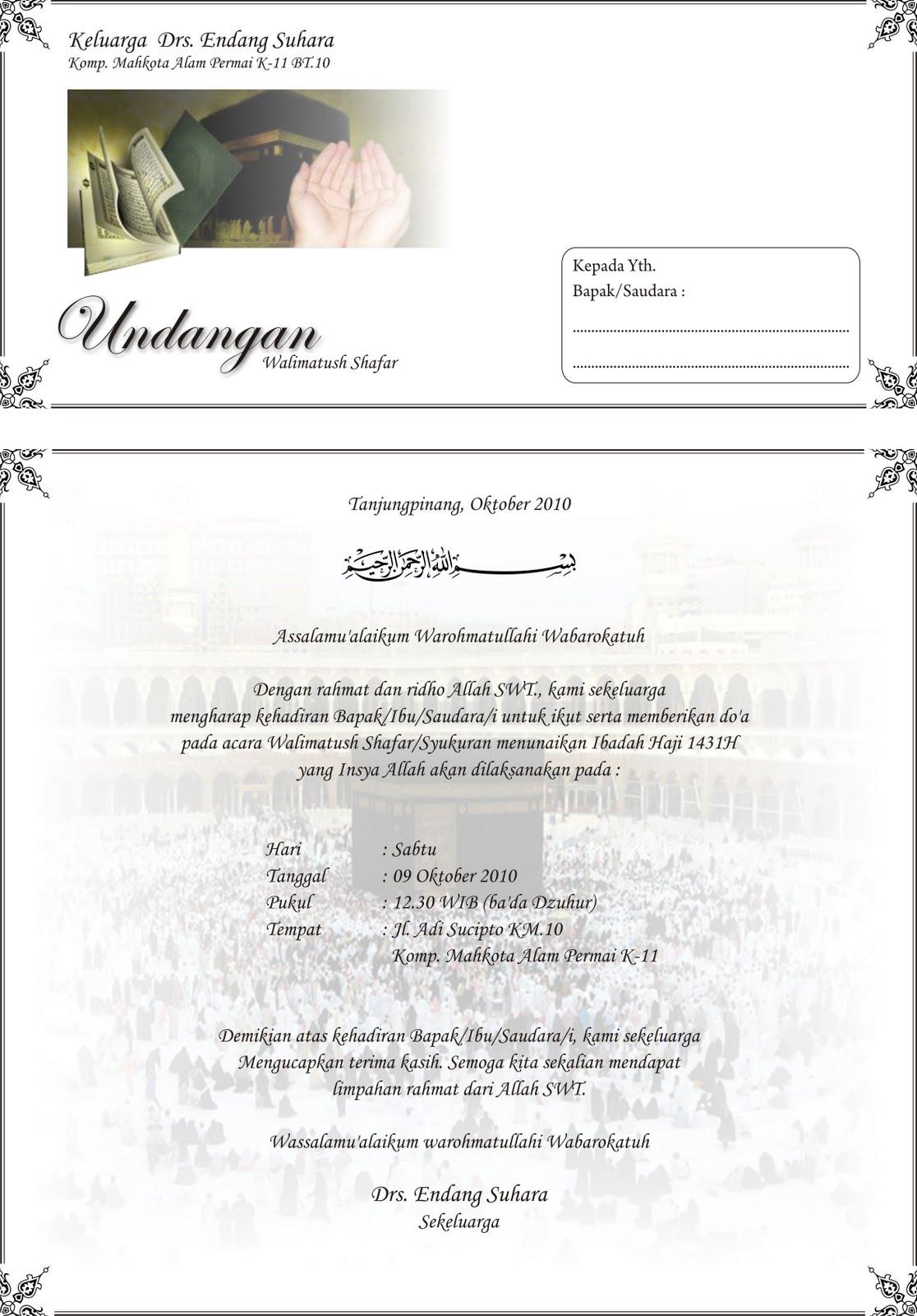Contoh Undangan Walimatush Shafar