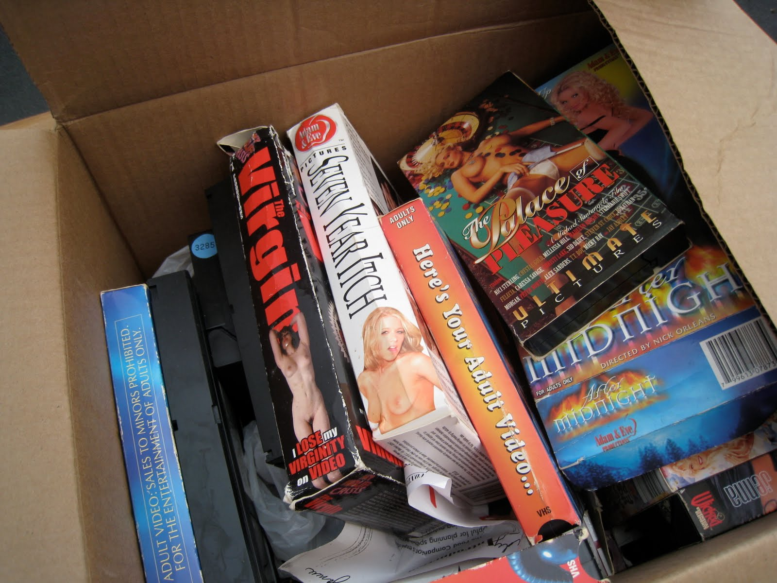 ... have been there to see the person who bought this GIANT box of VHS porn.