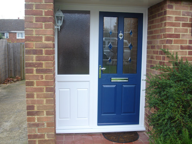 Composite Door Blue on White with Panel