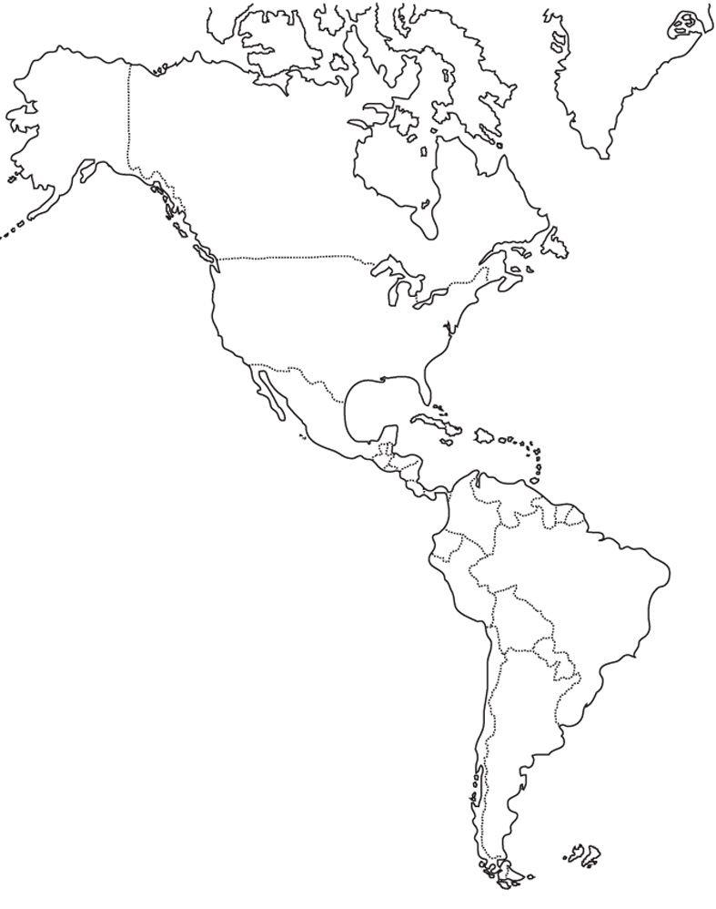 CIENCIAS SOCIALES MAPA FSICO DE AMRICA EN BLANCO