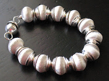 Etched Sterling Beaded Bracelet
