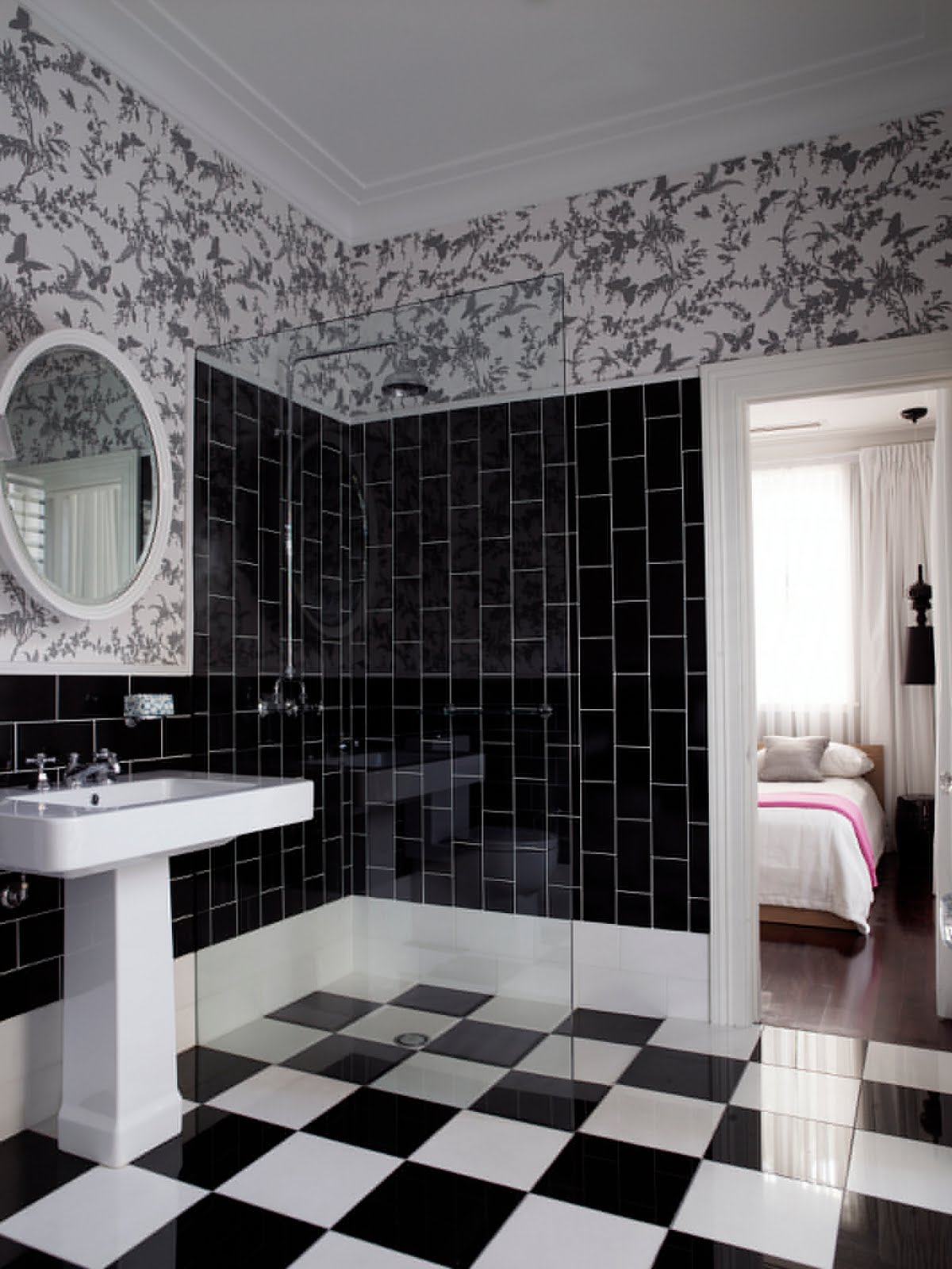 House Macabre bathroom subway tiles