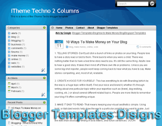 Theme iTheme Techno Left Column Blogger Templates XML Web 2.0