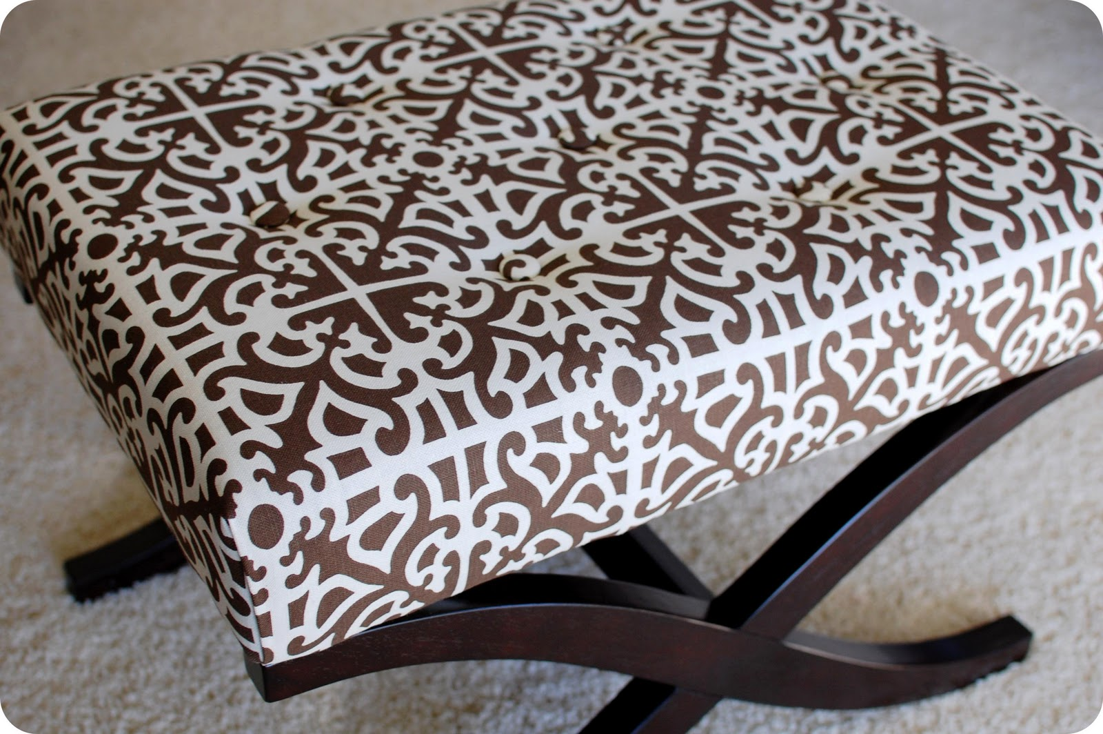 Remodelaholic no sew way to recover an ottoman for Ways to use an ottoman