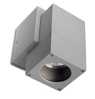 Icaro Single Cube Outdoor Wall Spotlight IP44 satin gray