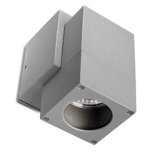 Icaro Single Cube Outdoor Wall Spotlight IP44 satin gray