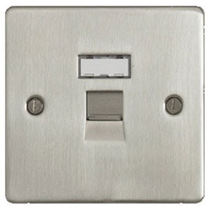 The Cheapest Sockets - Stainless Flat Plate 1G RJ45 Socket