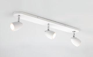 Ovale Three Spotlights on an oval bar, Triple Spotlight Ceiling Fitting