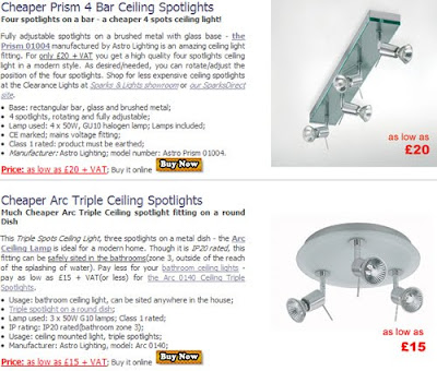 Cheaper Ceiling Spotlights, the Prism 4 spots and the Arc Ceiling 3 Spots, best bargain!