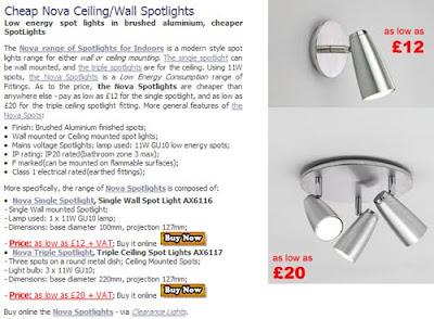 Cheaper Nova Spotlights, single wall spotlight or triple ceiling spotlights - bargain price!