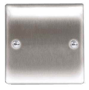 BG Nexus Metal Raised Plate 1 gang blank plate in Brushed Steel Finish