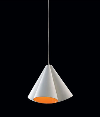 The Nemo Campanula Pendant, Ceramic white hanging pendant with orange interior - Nemo CAMEAW51