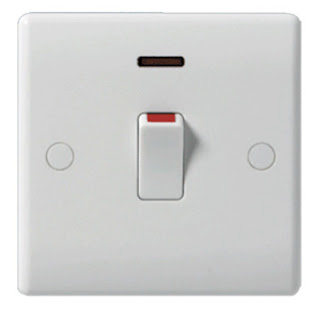 The BG Nexus 20 amp double pole switch with neon & flex outlet - Nexus White Moulded 833