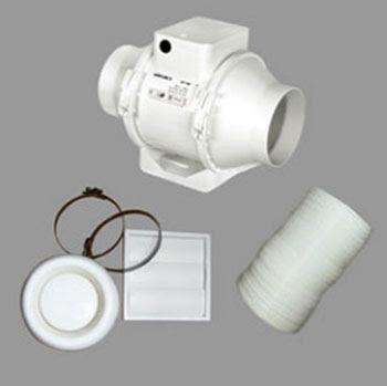 Airflow Aventa in-line Shower fan Kit 9041407, mixed flow fan with timer - Airflow AVSHWTKT