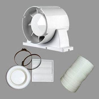 Airflow Aura 100mm in-line T shower fan kit 9041419 with adjustable timer - the Airflow AUSHWTKT