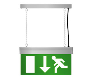 Emergency Lighting LEDESLS - Double Sided LED Edge Lit Exit Sign with down direction legend panel
