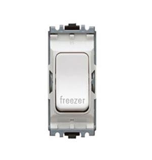The K4896FZWHI - a MK Grid 20A DP Switch marked Freezer, double pole white freezer switch