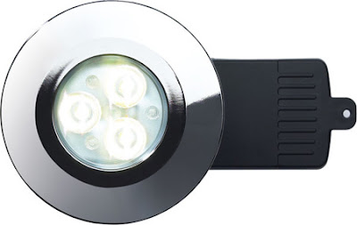 The DLCRFNW - Fire rated shower LED downlight, Neutral White energy saving EvoLED light, in a chrome finish