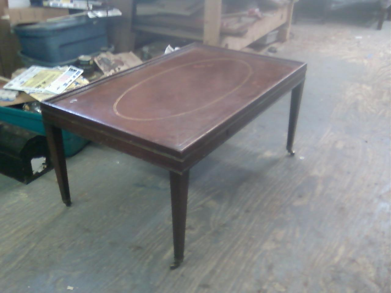 John mark power antiques conservator mahogany coffee table with leather top ca 1940 Coffee table with leather top