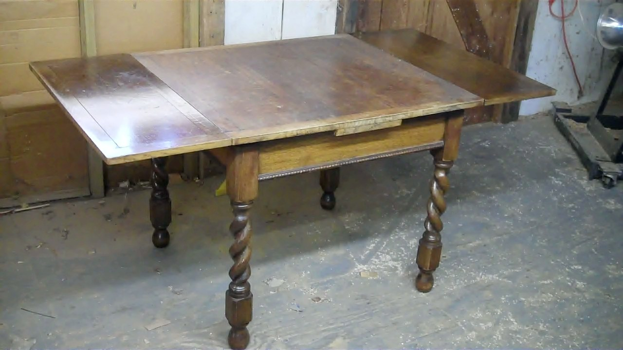 John Mark Power Antiques Conservator Quarter Sawn Oak Draw Leaf DiningTable