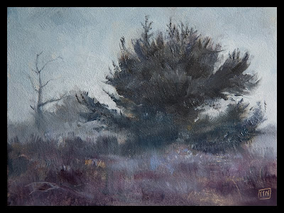 Best landscape oil paintings,Misty tree by Erik van Elven
