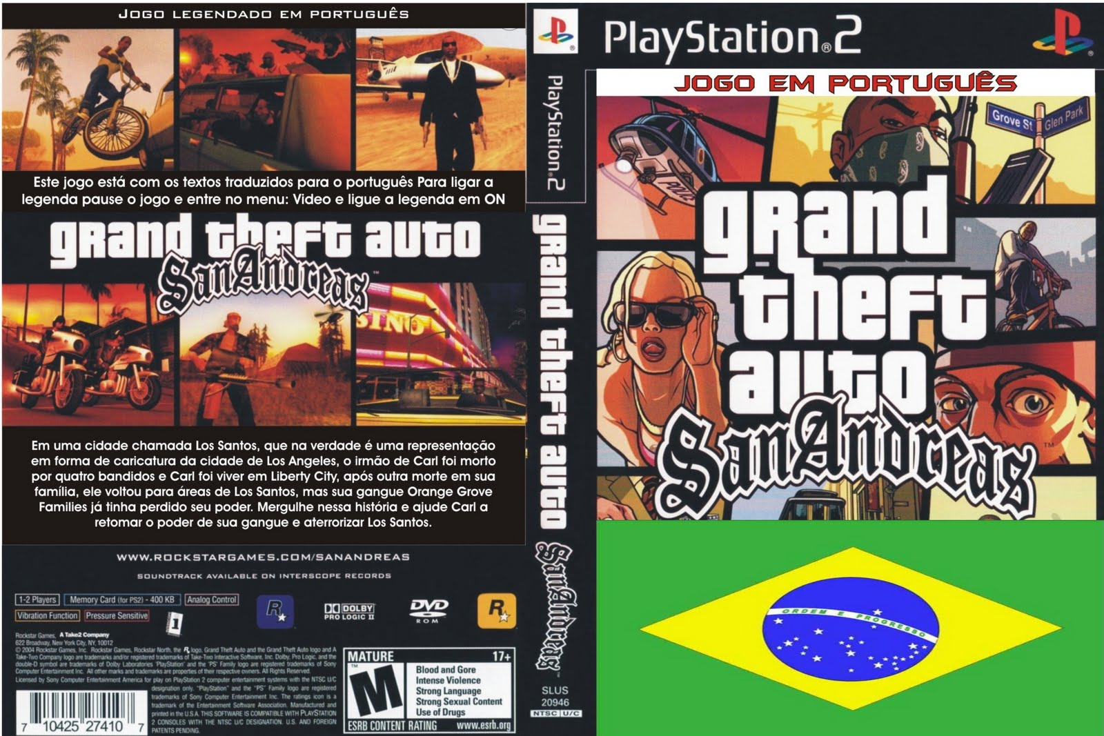 Download   Grand Theft Auto  San Andreas  Portugu  S Brasil    PS2