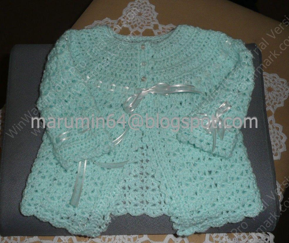 Chaquetita verde agua/ Aqua green baby jacket