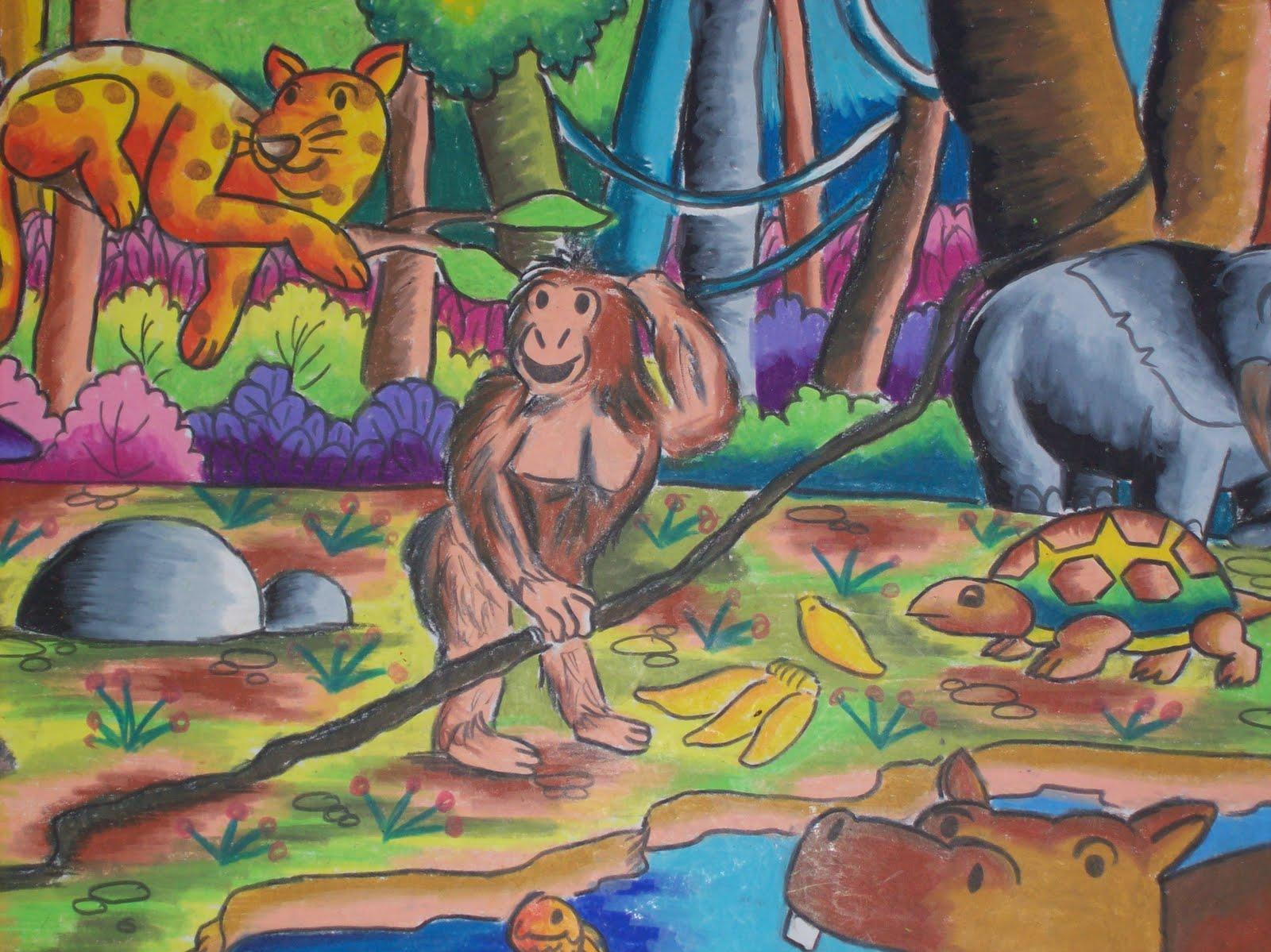 Contoh Lukisan Hutan