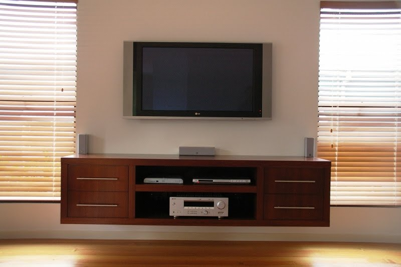 Floating Entertainment Unit with Shelves