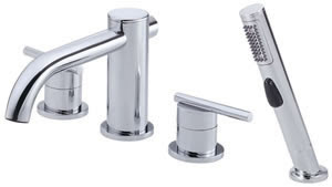 Danze D305758 Parma Roman Tub Faucet With Soft Touch Personal Shower