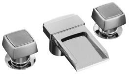 Kohler K-7980-2-CP Alterna Widespread Lavatory Faucet With Square Handles And Flume Spout