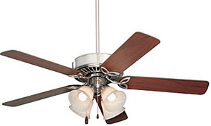 Emerson Fans CF711BS 50 Inch Builder Plus Ceiling Fan Brushed Steel With Dark Cherry / Mahogany Blades