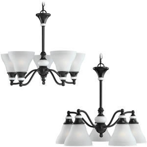 Sea Gull 31591-855 Brixham 5 Light Convertible Chandelier Rustic Bronze With Ceramic Style Inlay