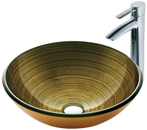 Vigo VGT109 Bronze Glass Vessel Sink With Faucet