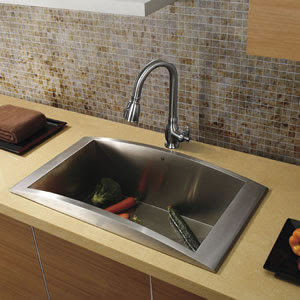 Vigo VG14030 Topmount Single Bowl Stainless Steel Kitchen Sink With Faucet