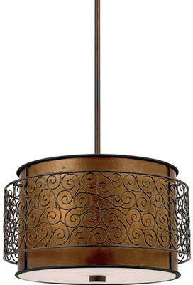 Quoizel MC843CRC Mica 3 Light Pendant Fixture Renaissance Copper