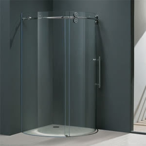 Vigo VG6031CHCL36R Frameless Round Clear/Chrome Shower Enclosure