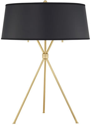 Quoizel LSP6325NR1 Laurie Smith Epoch 2 Light Table Lamp Natural Brass Black Shade
